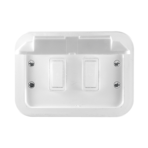Crabtree - Industrial 2 Lever 1 x 1 Way & 1 x 2 Way Weatherproof Switch in Surface Box - 1462/2W