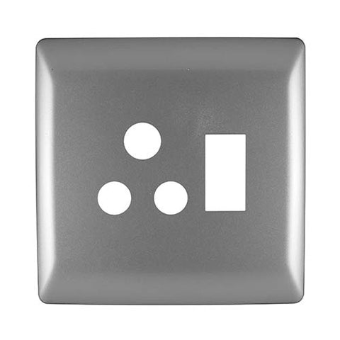 Diamond 16A Single Horizontal Socket Cover Plate 4 x 4 - Silver Grey