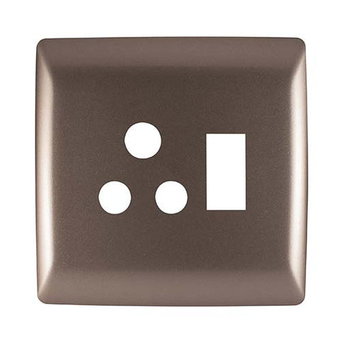 Diamond 16A Single Horizontal Socket Cover Plate 4 x 4 - Champagne
