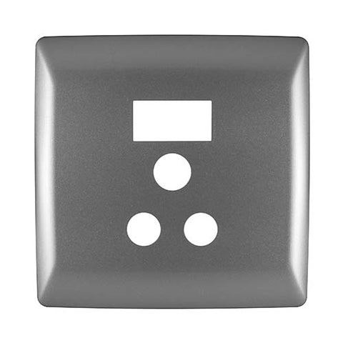 Diamond 16A Single Socket Cover Plate 4 x 4 - Silver Grey