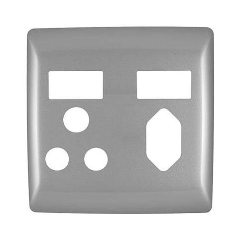 Diamond Combo Socket Cover Plate 4 x 4 - Silver Grey
