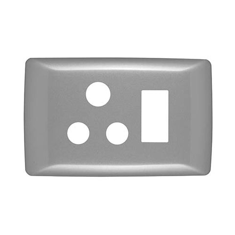 Diamond 16A Single Horizontal Socket Cover Plate 4 x 2 - Silver Grey