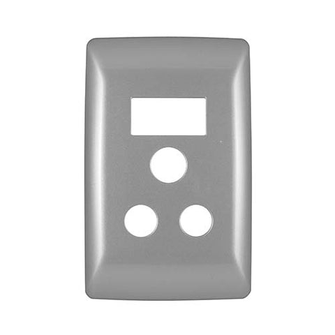 Diamond 16A Single Socket Vertical Cover Plate - Silver Grey