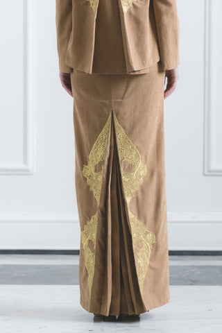 CHE' KU Pencil Skirt with Gold-embroidery Fan-pleat at back in Brown