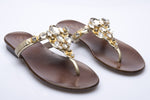 Diamante Leather Low Heel Slippers