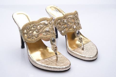 Gold Embroidered and Bejeweled Vintage Leather Heels