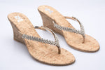 Silver Diamante with Cork Wedge