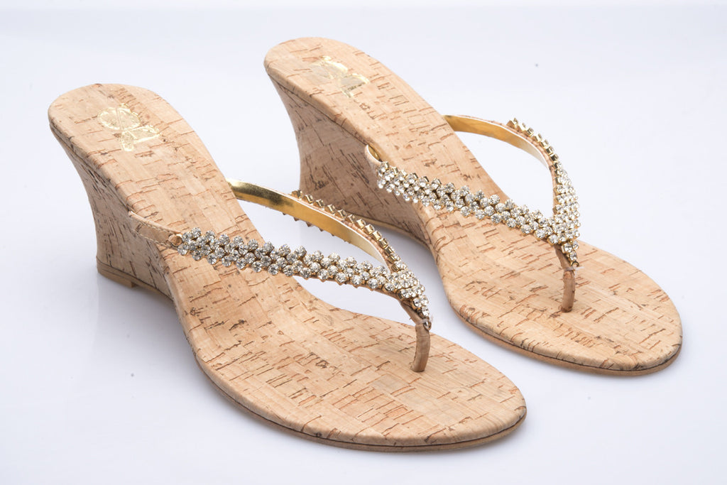Gold Diamante with Cork Wedge