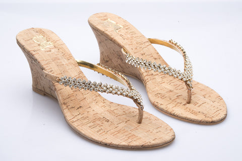 Gold Diamante and Cork Wedge