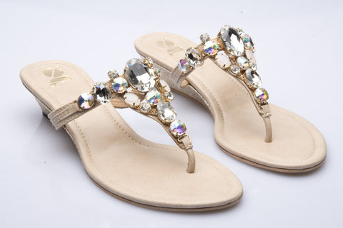 Natural Big Diamante and Stones Low Wedge
