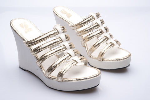 Ivory Leather and Silver 5 Strap Wedges