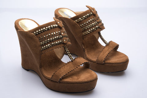 Brown Suede Kolhapuri Clog Wedges