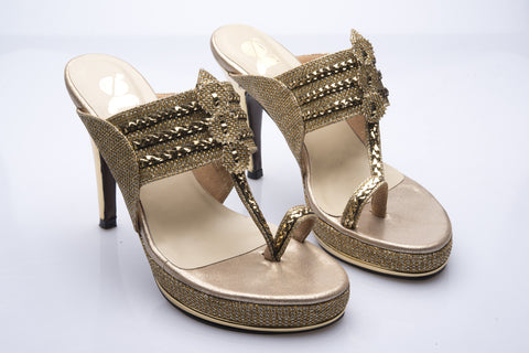 Gold Canvas & Leather Kolhapuri Style Heeled Sandal