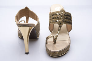 Canvas Leather Kolhapuri Heels
