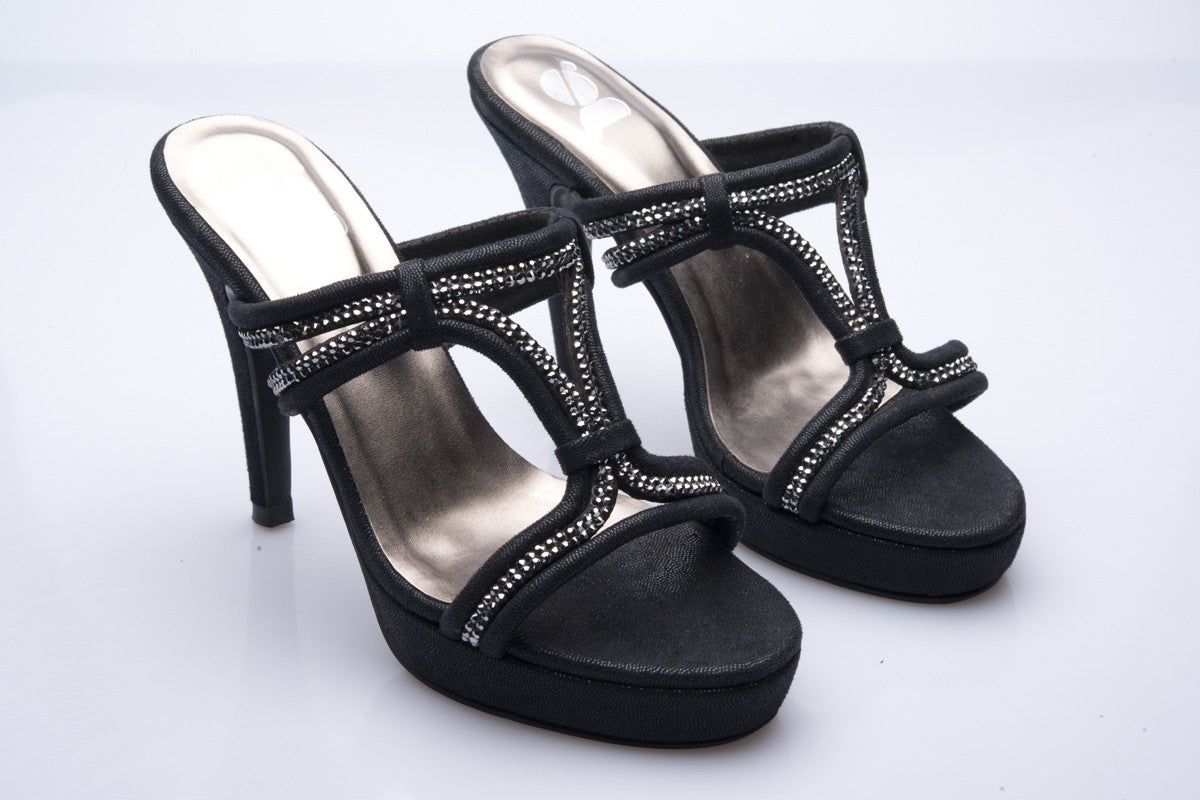 Leather and Diamante Heel Sandal