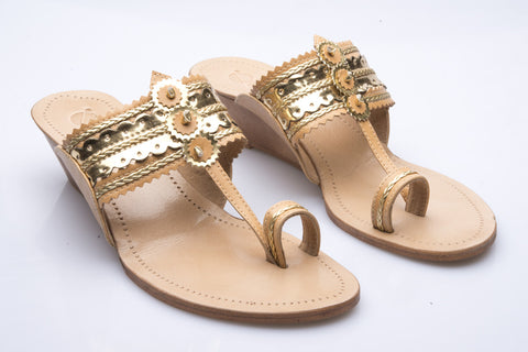 Gold Low Wedge Kolhapuri Slipper