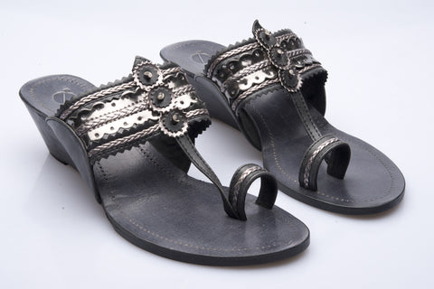 Black Low Wedge Kolhapuri Slipper