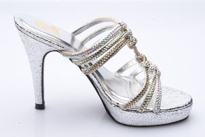 Silver Leather and Diamante Heels