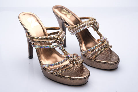 Bronze Leather and Diamante Heels