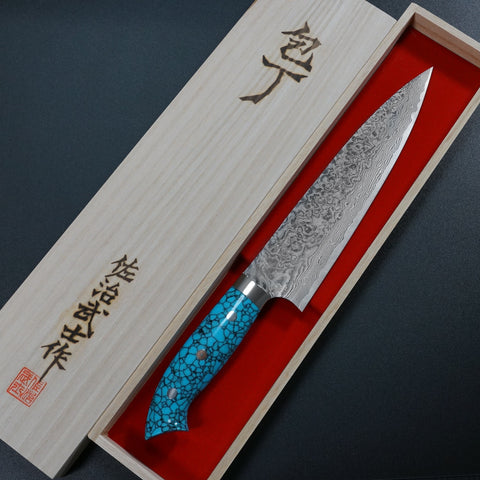 Saji Takeshi SG2 Super Gold 2 Damascus Gyuto Chef Knife 210mm Blue Turquoise