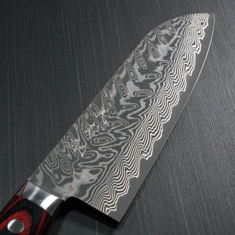 Yoshimi Kato Super Gold 2 SG2 V-shape Black Damascus Santoku Knife Red Handle