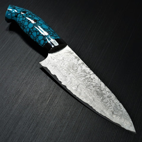 Saji Takeshi SG2 Super Gold 2 Damascus Matte Finish Petty Knife 150mm Blue Turquoise