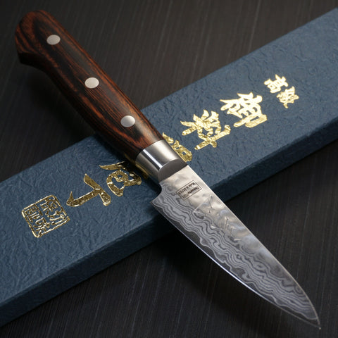 Isshin Cutlery Hammered 17 Layers Damascus VG10 Paring Knife 80mm