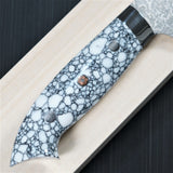 Saji Takeshi SG2 Super Gold 2 Damascus Matte Finish Petty Knife 150mm White Turquoise