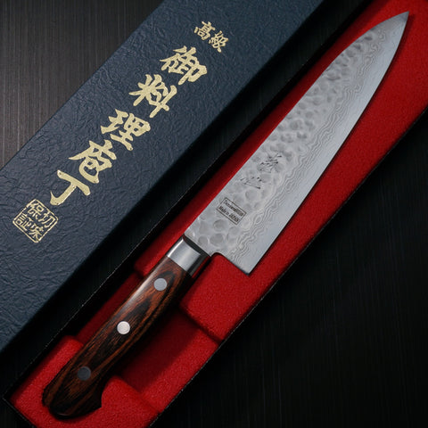 Isshin Cutlery Hammered 17 Layers Damascus VG10 Chef Knife 180mm