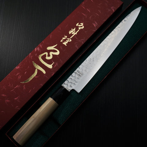 Isshin Cutlery Hammered 45 Layers Damascus VG10 Wa Sujihiki Knife 240mm