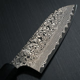 Kato Yoshimi Super Gold 2 SG2 V-Shape Damascus Black Finish Santoku Knife Water Buffalo Walnut