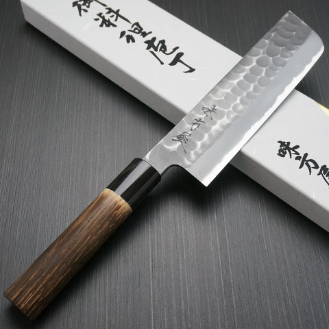 Mutsumi Hinoura Hammered White Shirogami #2 Nakiri Kitchen Knife