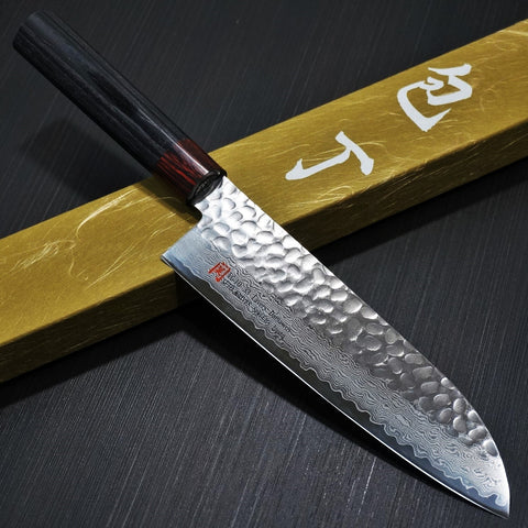 SETO Hammered 33 Layers Nickel Damascus VG10 Santoku Knife 180mm I-5