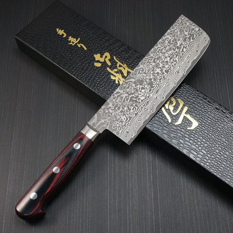KATO VG10 63Layers Damascus Black Finish Nakiri Knife