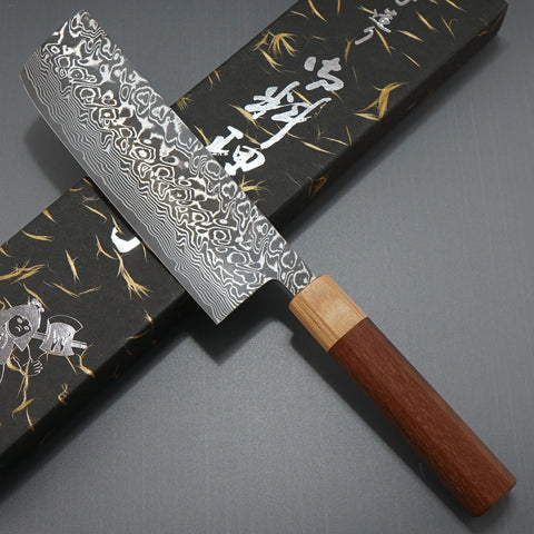 Yoshimi Kato Super Gold 2 SG2 V-shape Black Damascus Nakiri Knife Jarrah