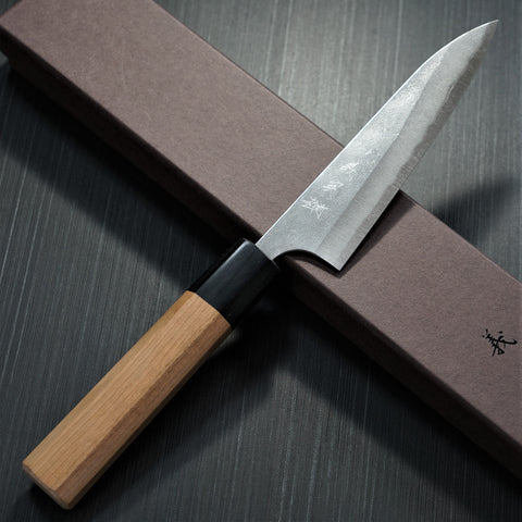 Yoshimi Kato Aogami Super  Nashiji Finish Petty Knife 120 mm