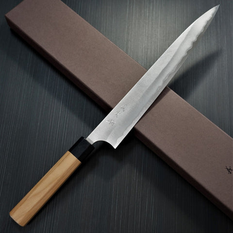 Kato AOGAMI Super Clad Stainless Steel Nashiji Finish Sujihiki Knife 270mm