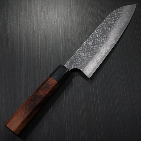 Yoshimi Kato VG10 Hammered Damascus Santoku Kitchen Knife 170mm Honduras Rosewood