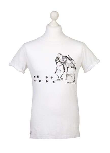 Mens white organic cotton ethical Funky Badger t-shirt