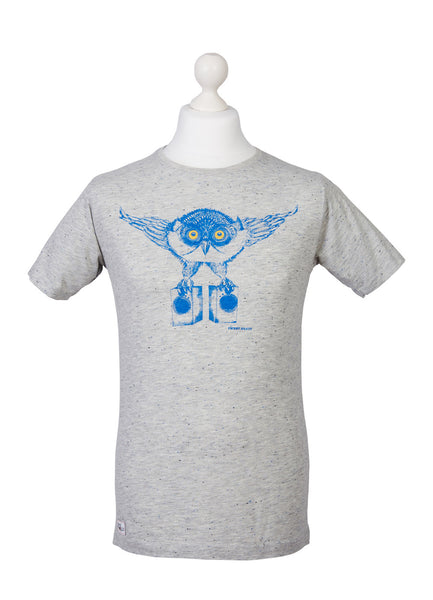 Mens speckled grey ethical tweet beats owl tshirt