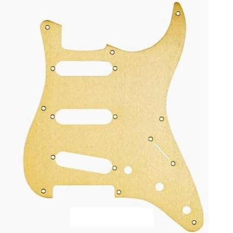 Pickguard, Stratocaster® S/S/S, 11-Hole Mount, Gold Anodized Aluminum, 1-Ply