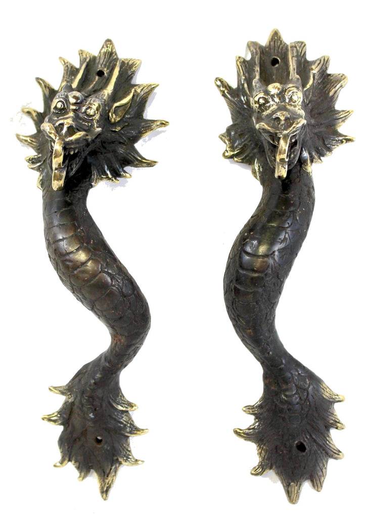 Bronze Asian Dragon Naga Serpent Door Handle Pull handmade Bali Art set of 2