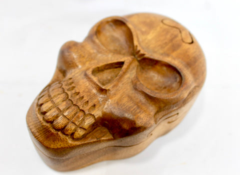 Skull Skeleton Secret Puzzle Trinket stash Box Hand Carved Wood
