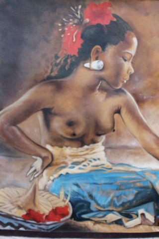 "Balinese Nude Women Classic Painting Fine Wall art Signed Ubud Bali 46""X39"" - Acadia World Traders"