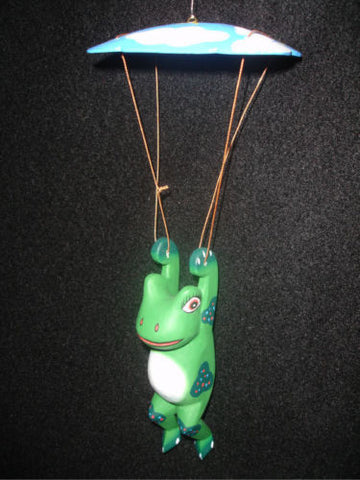Skydiving Frog Parachuting Toad mobile hand carved wood Balinese folk art - Acadia World Traders