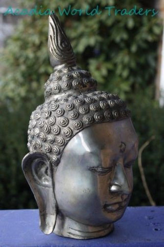"Bronze Enlightened Flame Buddha Head Statue sculpture Bali Art cast silvered 12"" - Acadia World Traders"