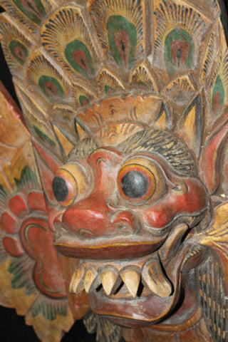 "Balinese Barong Sai Mask Boma Topeng Hand Carved Wood Bali art guardian 25"" - Acadia World Traders"