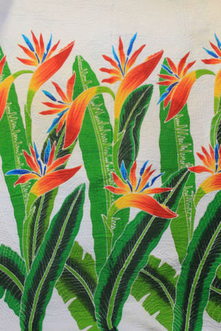 Hand painted Bali Batik Bird of Paradise Quilt Coverlet Bedspread