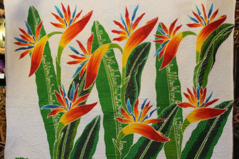 Hand painted Bali Batik Bird of Paradise Quilt Coverlet Bedspread - Acadia World Traders