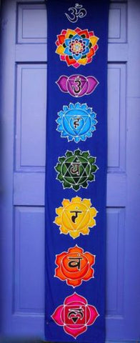 "Sacred Chakra Lotus Prayer Flag banner~meditation Yoga  Bali Batik wall Art 72""L - Acadia World Traders"